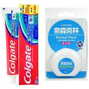 【Colgate 高露潔】三效牙膏(200g*12)+奈森克林牙線(50M)*6