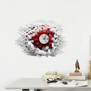 高級3D超靜音壁貼鐘 破壁時鐘 R(紅色款) WTB-206