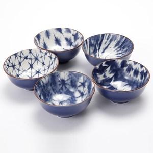 HOLA 絢彩五入碗 藍寶石 陶瓷飯碗 五款花色 可適用微波爐/洗碗機/烤箱