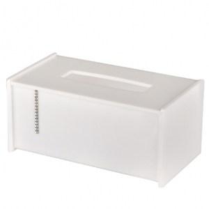 水鑽抽取式紙巾盒白