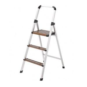 特力屋摩登輕巧木紋三階鋁梯