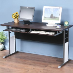 Homelike 巧思辦公桌-加厚桌面140cm(附鍵盤)桌面:胡桃/桌腳:炫灰/飾板:灰