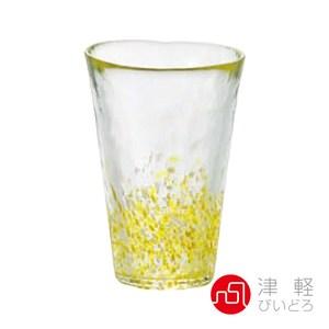日本ADERIA津輕 手作粉彩玻璃飲料杯300ml-黃