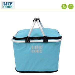 LIFECODE 《馬卡龍》保冰提籃/保溫野餐提籃(20L)-藍色