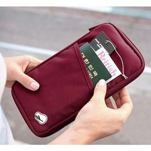 多功能旅遊收納護照包 隨手包(長版)酒紅