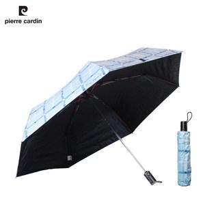 【皮爾卡登 X Weather Me】黑膠格紋安全自動大傘(水藍)水藍