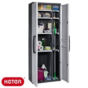 KETER(SPACE)塑鋼五層櫃黑色 H176W37.7L68CM 塑鋼材質 耐曬耐淋