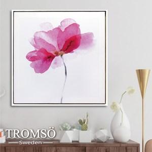 TROMSO時尚風華抽象有框畫方形 墨染煙紅花 50x50cm
