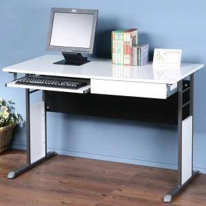 Homelike 巧思辦公桌-亮面烤漆120cm(鍵盤抽屜)桌面:白/桌腳:炫灰/飾板:灰