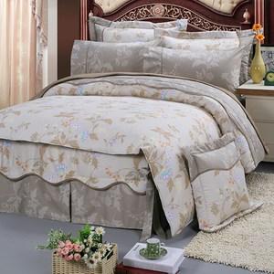 【FITNESS】精梳純棉雙人七件式床罩組-帕帝娜(卡其)