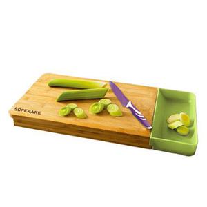 SUPERARE 設計款竹木切菜板(附側吸料理盒)SKF-006