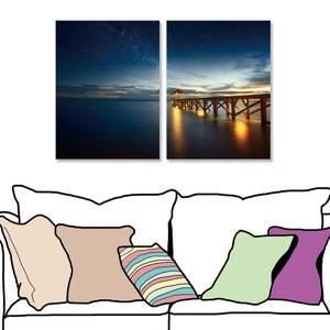 【24mama 掛畫】二聯式 油畫布 無框畫 30x40cm-靜謐河岸