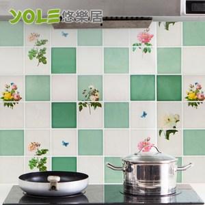 【YOLE悠樂居】繽紛創意設計款廚房自黏防油壁貼(2入)-花朝束束
