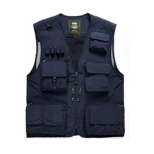 PUSH!戶外休閒用品多功能15口袋背心夾克F25藏青藏青XL