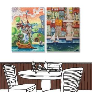 【24mama掛畫】二聯式 油畫布 無框畫 30x40cm-古老船港口油畫布無時鐘