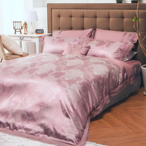 HOLA home 夢迴木棉絲蕾絲七件式床罩組 雙人