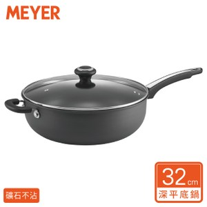 【美國美亞Meyer 】陽極鋼化天然礦石萬用不沾炒鍋32CM