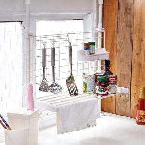 【H&R安室家】頂天立地雙桿廚房檯面收納架