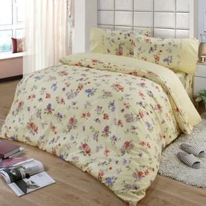 【FITNESS】精梳棉加大四件式兩用被床包組-穠芳(黃)