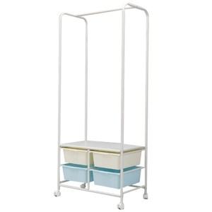 DIY兩層可收納多功能掛衣架(附收納籃)-2白框+2淺藍框
