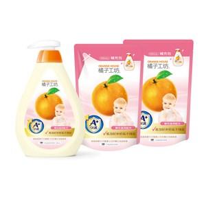 【橘子工坊】家用清潔類奶瓶蔬果清潔劑*1+補充包*2