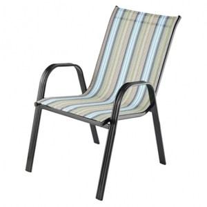 米高彩條透氣網布躺椅 藍