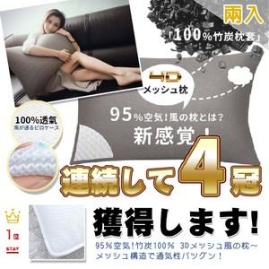日本3D立體透氣防霉抗菌水洗枕 2入