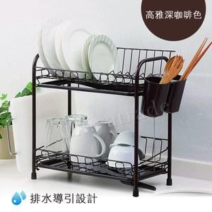【日本收納達人】導流排水 碗盤雙層瀝水架 瀝水盤 砧板架-附餐具瀝乾杯