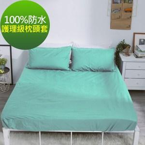 【eyah】台灣製專業護理級完全防水雙面枕頭套2入組 8色任選蒂芬妮綠
