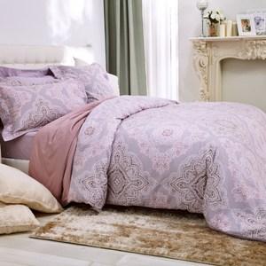 HOLA home 聖羅燈芯絨印花床被組 雙人