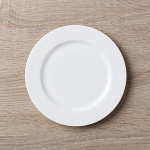 HOLA home 緻白骨瓷平口平盤6吋