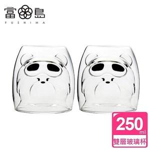 【FUSHIMA 富島】2018年度限定-雙層耐熱玻璃杯Cutie熊*2入
