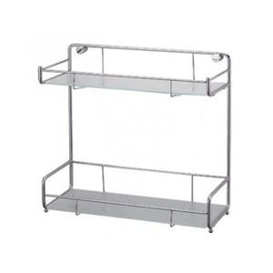 不鏽鋼玻璃平面雙層置物架