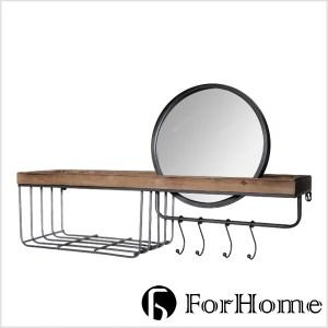 ForHome 工業風 Gino 基諾 實木鐵件壁掛 鏡子置物架 仿舊收納