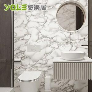 【YOLE悠樂居】廚房自黏耐高溫防汙防油加厚壁貼-石紋(雅士白)