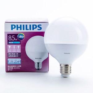 飛利浦 8.5W Globe 全電壓 LED 燈泡 白