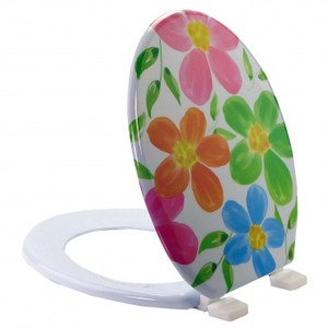 彩繪通用型馬桶蓋-繽紛花朵