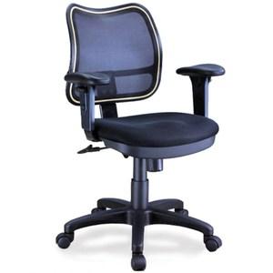 aaronation 升降PU扶手彈性尼龍網背電腦椅-黑(i-RS10