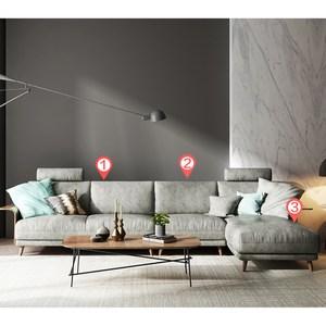 林氏木業北歐輕奢荷蘭絨移動頭枕L型四人布沙發(附抱枕)RAV1K-墨灰色