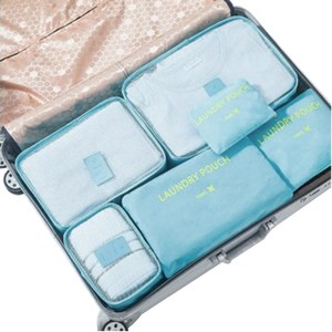 PUSH!旅遊用品旅行收納袋衣物收納包6件套韓國藍S56韓國藍