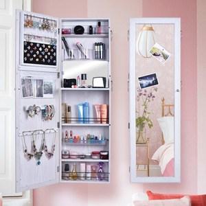 《C&B》思薇亞壁掛式首飾收納穿衣鏡櫃(三色可選)木紋白色