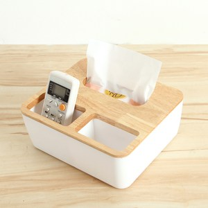 [特價]【三房兩廳】橡木面紙盒-大(方形三格木蓋)