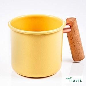 Truvii 木柄琺瑯馬克杯250ml(奶油黃)