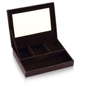 LOVEL 經典鱷魚紋皮革收納 防塵掀蓋4格珠寶盒(魅力咖/附鏡)
