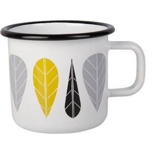 【芬蘭Muurla】黃葉琺瑯馬克杯370cc(白色)