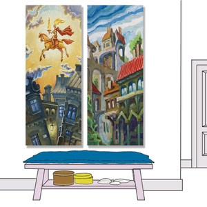 【24mama掛畫】二聯式 油畫布 無框畫 20x50cm-燃燒騎士油畫布無時鐘
