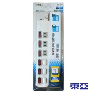 東亞 家用六開關六插孔電源延長線 12尺 TY-122尺