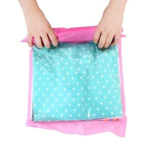 【PUSH!旅遊戶外用品】手壓式真空壓縮袋防水衣物收納袋4入中號粉色S36-1