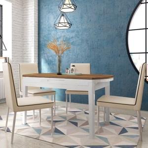 林氏木業北歐現代鋼化玻璃伸縮餐桌BI2R-D木紋+白色