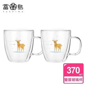 【FUSHIMA 富島】聖誕Joy樂摯雙層耐熱玻璃杯麋鹿款(把手)*2單一規格